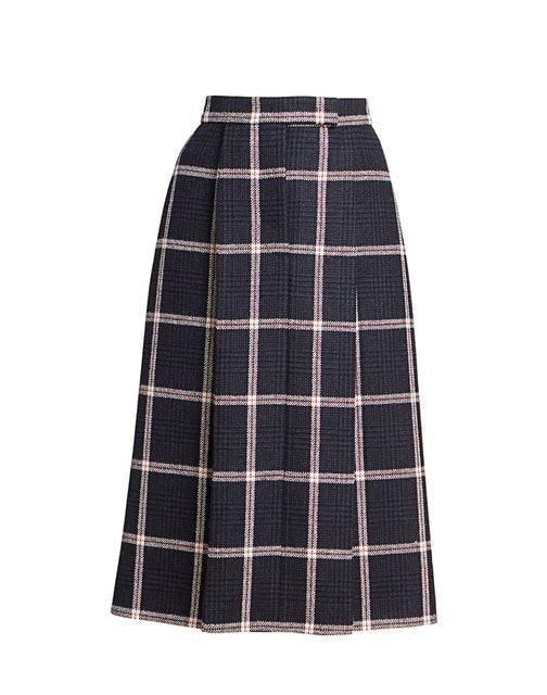 Thom Browne Prince Of Wales Tweed Check Skirt 1
