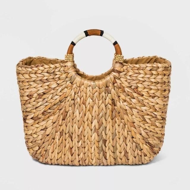 A New Day Straw Circle Handle Tote Handbag 1
