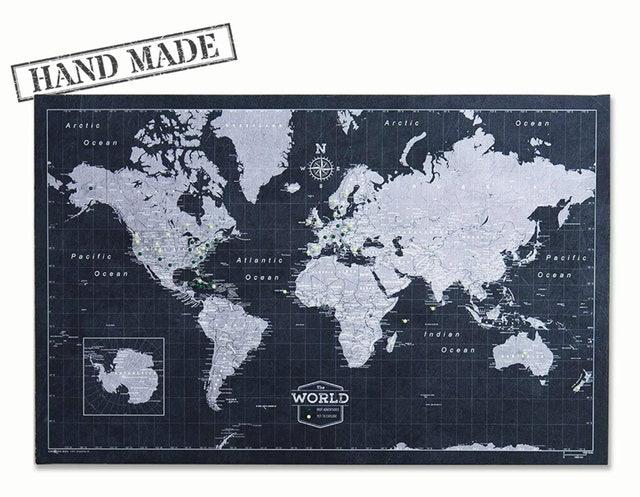 Handmade in Ohio Push Pin World Map Board 1