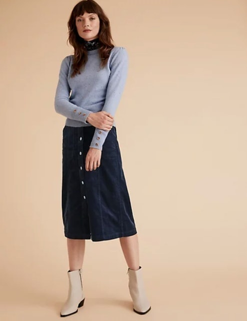 Marks and Spencer Corduroy Button Front Midi A-Line Skirt 1