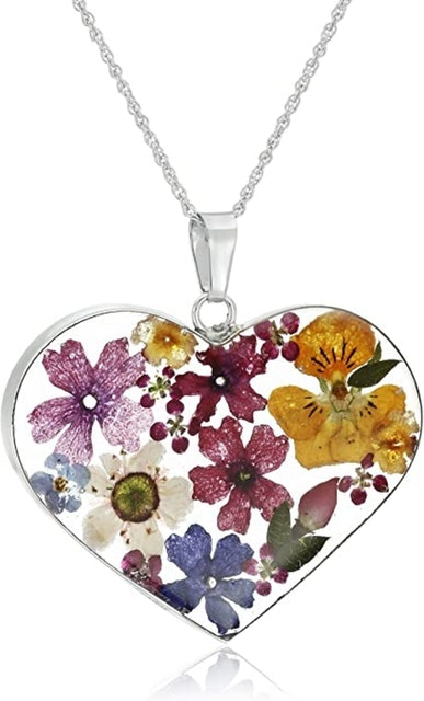 Valentine's Day Necklaces Amazon Collection Pressed Flower Heart Necklace 1