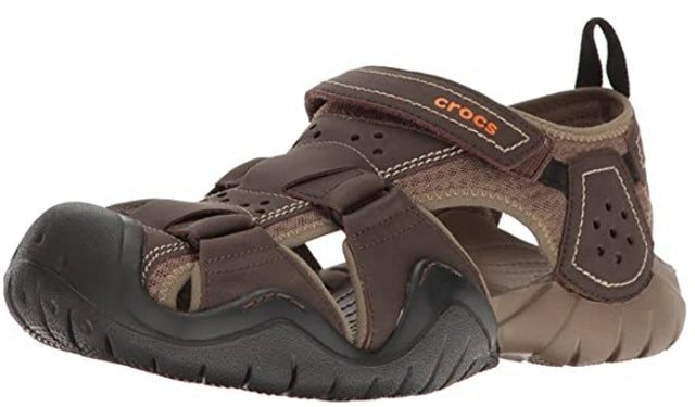 Crocs Men's Swiftwater Leather Fisherman Sandal 1