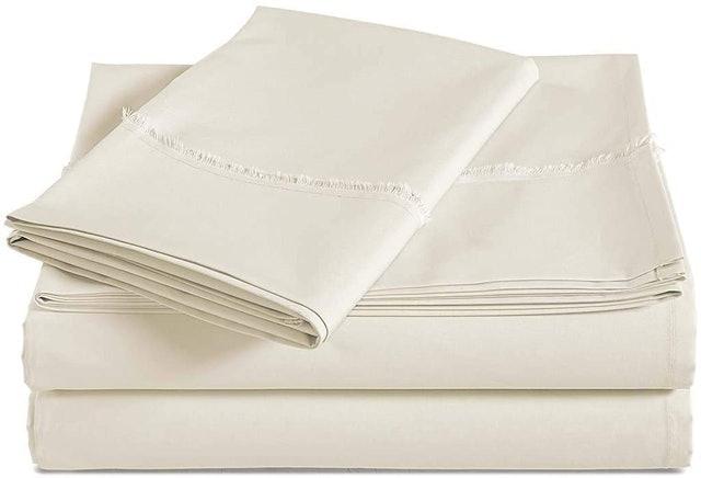AmazonBasics   Organic Cotton Sheet Set with Frayed Hem 1
