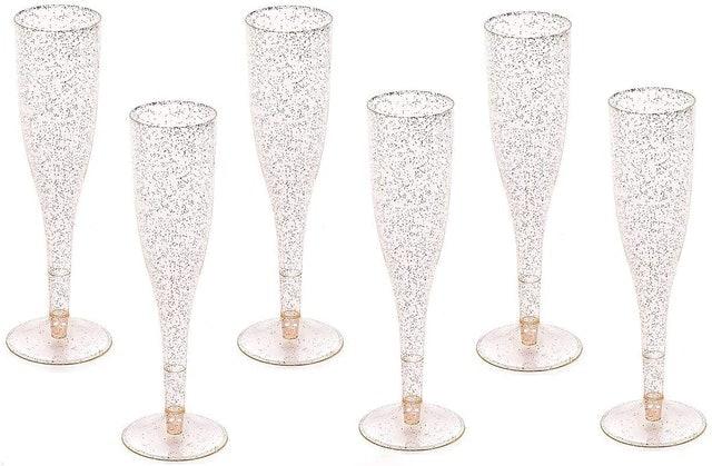 Oojami Gold Glitter Plastic Flutes 1
