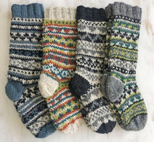 AURAQUEDesign Fair Trade Wool Jersey Cotton Lined Slipper Socks 1