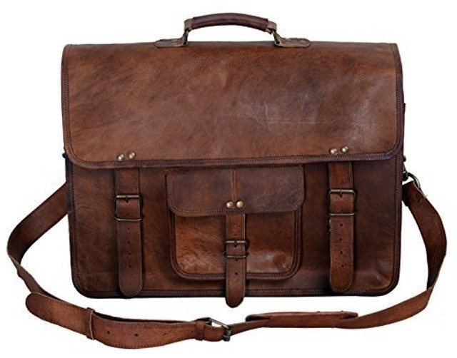 Komal's Passion Leather  Leather Briefcase Laptop Messenger Bag 1