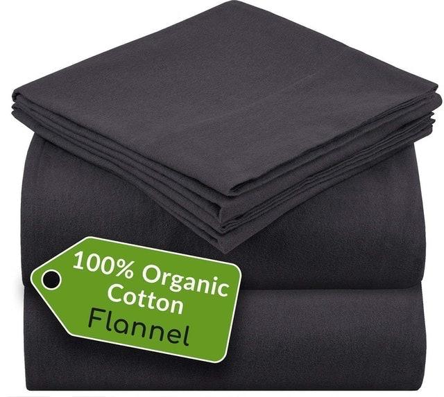 Mellanni 100% Organic Cotton Flannel Sheet Set  1