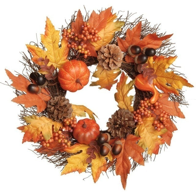 Fall Decorations Holiday Aisle Pumpkins and Maple Leaves Plastic Wreath 1