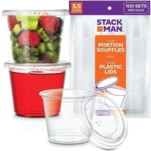 Stack Man Clear Portion Souffles with Clear Plastic Lids 1
