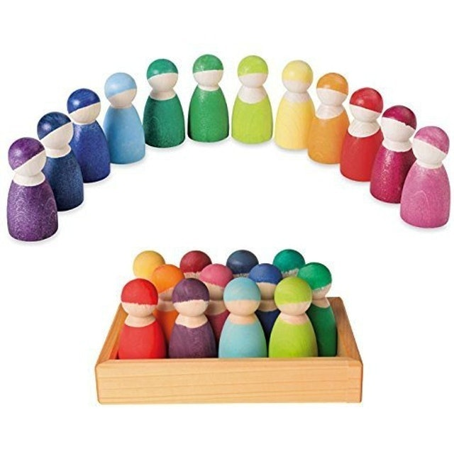 Grimm's Spiel und Holz Design Set of 12 Rainbow Friends Peg Dolls 1