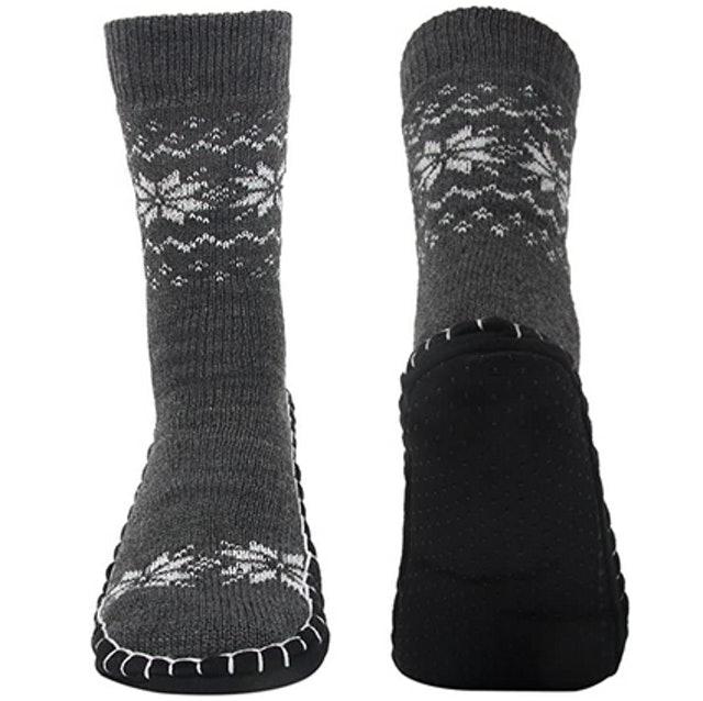 Vihir Men's Winter Knitted Slipper Socks   1