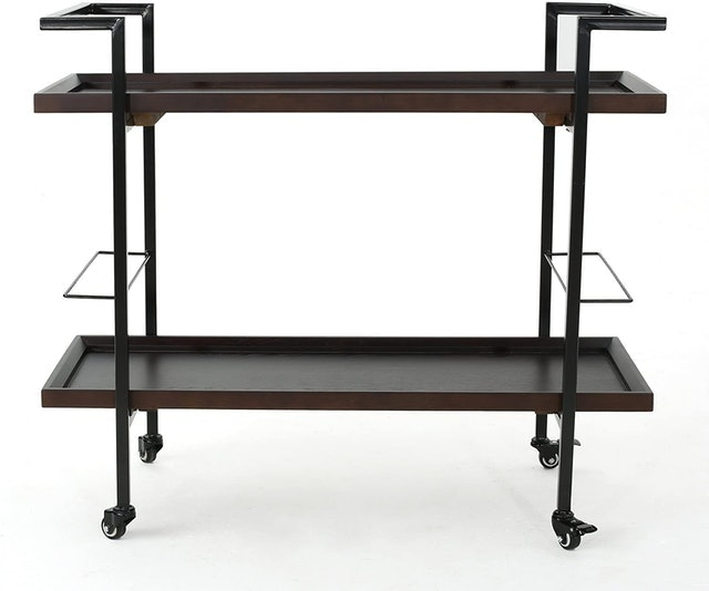 Rolling Bar Carts Christopher Knight Home Gerard Industrial Wooden Bar Cart 1