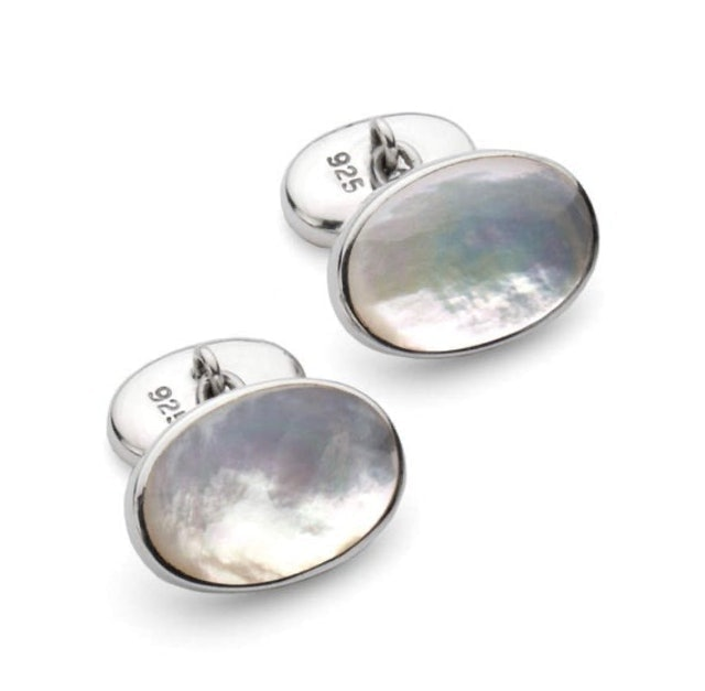 Silver Engraved Gifts Mother of Pearl Stone Classic Chain Link Oval Shaped Cufflinks 1
