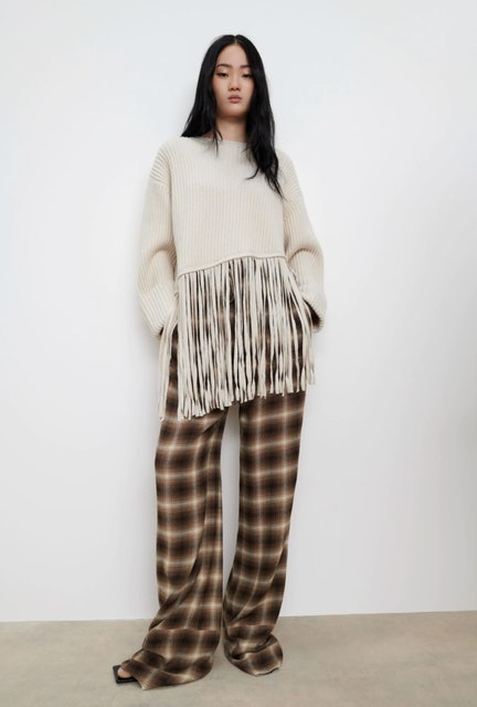 Zara Fringed Oversized Sweater 1
