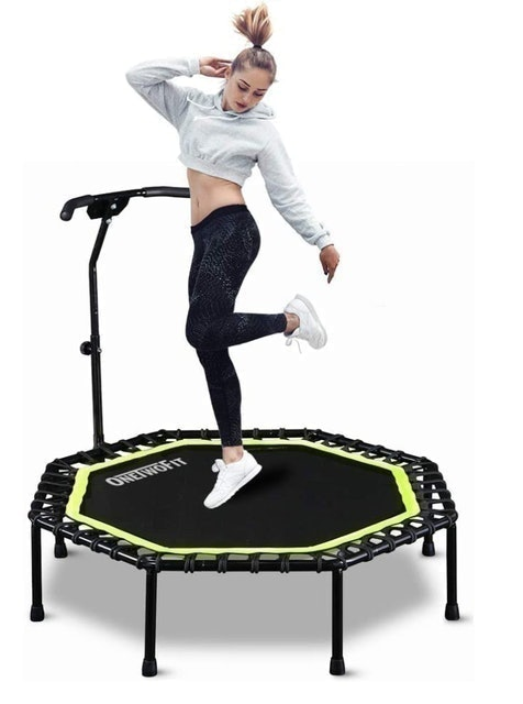 OneTwoFit Silent Trampoline With Adjustable Handle Bar 1