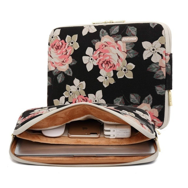 Kayond  Black Rose Patten Canvas Water-Resistant 17 Inch Laptop Sleeve 1