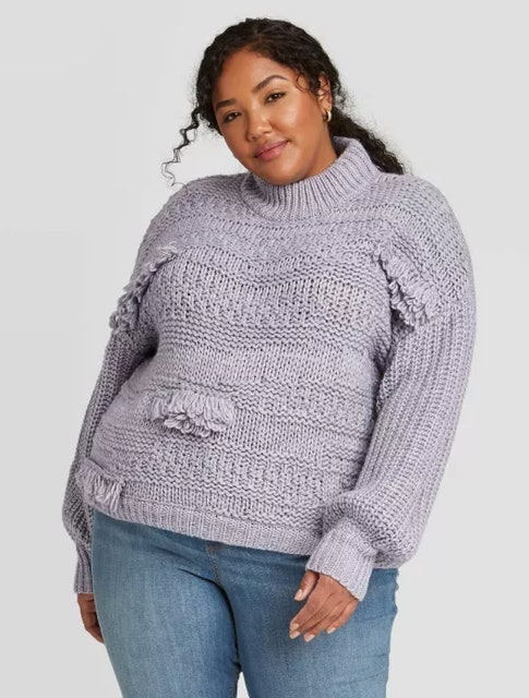 Universal Thread Mock Turtleneck Fringe Pullover Sweater 1