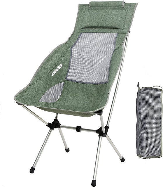 MARCHWAY Lightweight Folding High Back Camping Chair with Headrest 1