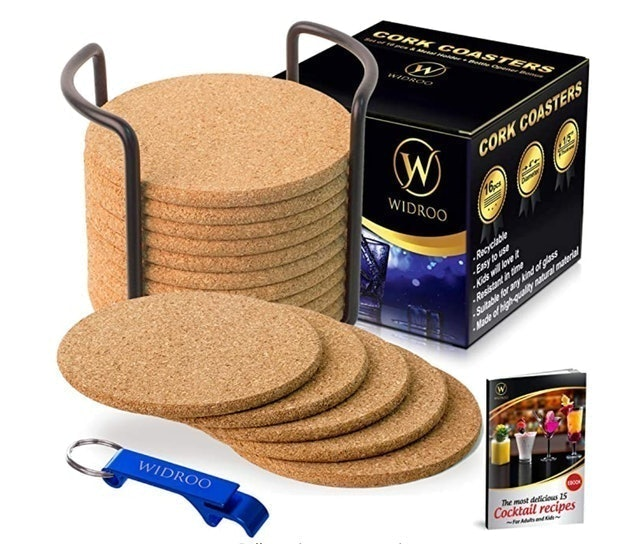 Widroo Round Cork Coasters for Drinks with Holder 1