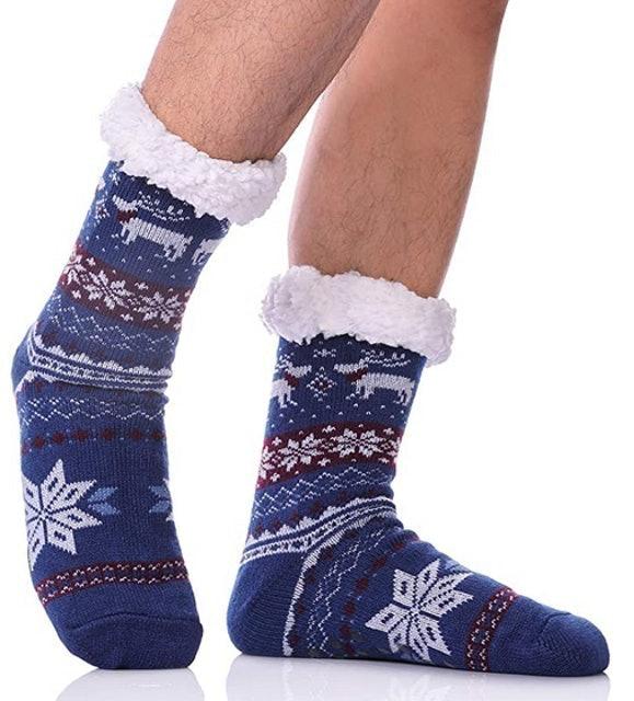 DYW Men's Fuzzy Thermal Fleece-Lined Fluffy Slipper Socks 1