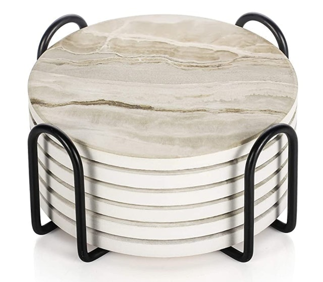 LIFVER Marble Style Ceramic Drink Coaster 1