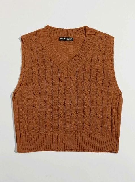 Shein V Neck Cable Knit Sweater Vest 1