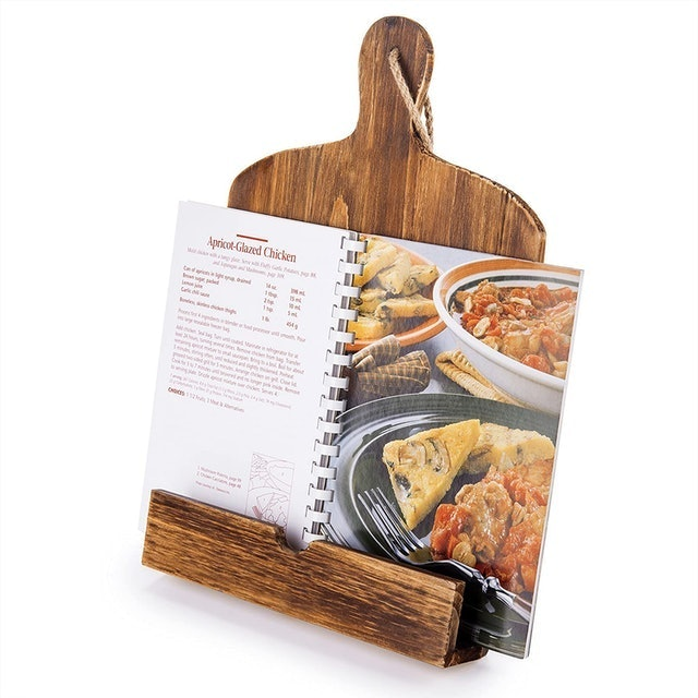 MyGift Cutting Board Style Rustic Cookbook Stand 1