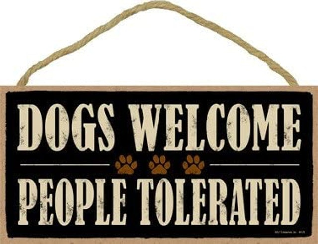 Gifts for Dog Lovers SJT Enterprises Dogs Welcome People Tolerated Plaque 1