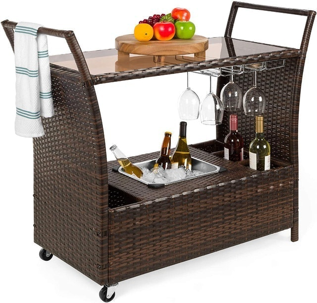 Rolling Bar Carts Best Choice Products Outdoor Rolling Wicker Bar Cart 1