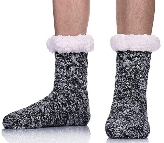 Sdbing Men's Super Soft Fleece-Lined Slipper Socks  1