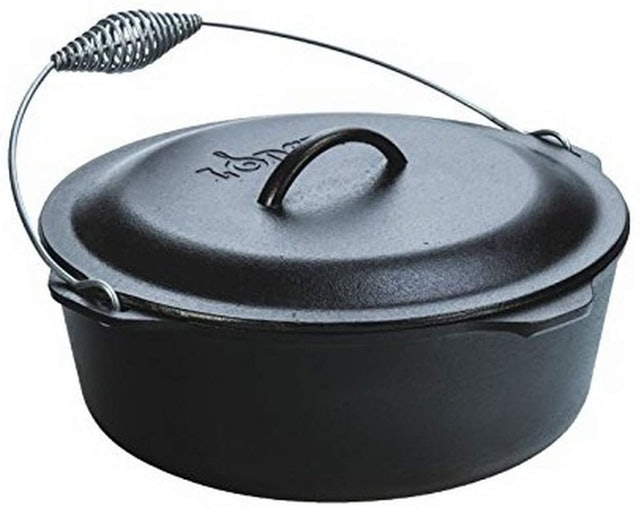 Lodge Cast Iron Dutch Oven With Wire Bail Handle 1