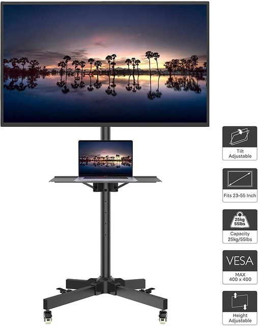 1home Rolling TV Stand with Laptop Shelf 1
