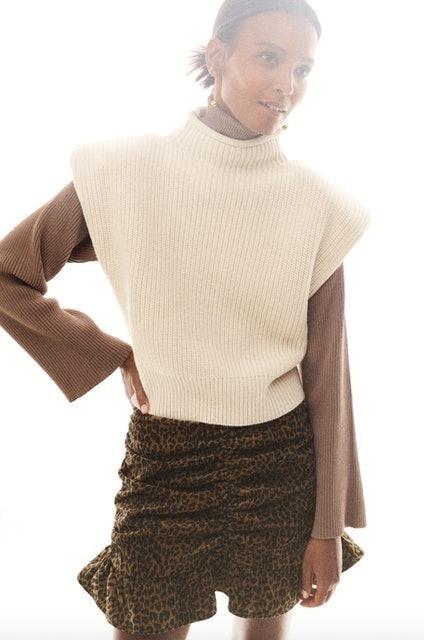 Zara Animal Print Corduroy Skirt 1