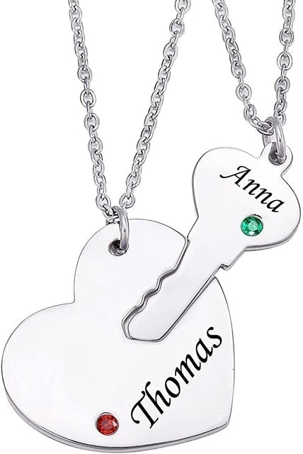 Valentine's Day Necklaces Valyria Personalized Key Heart Puzzle Necklace 1