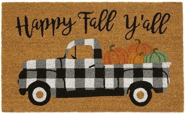 Fall Decorations Elrene Home Fashions Farmhouse Living Happy Fall Y'all Coir Mat for Entryway 1