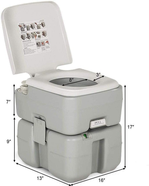 S AFSTAR Portable Toilet With Splash-Free Dumping 1