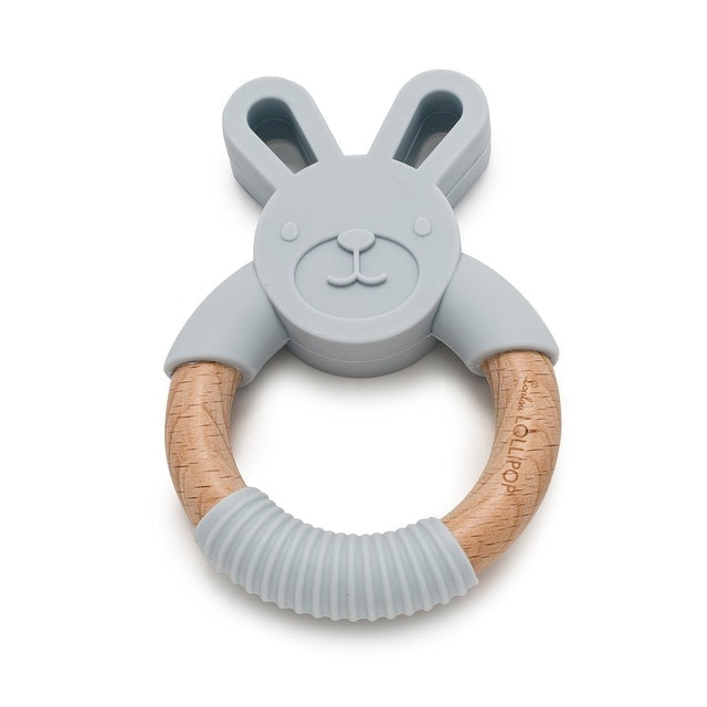 Loulou Lollipop Bunny Silicone And Wood Teether 1