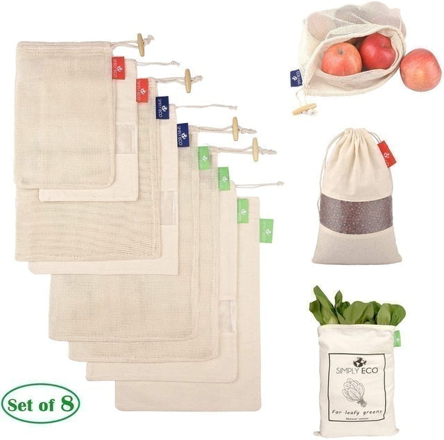 Simply Eco 8 Cotton Reusable Produce Bags With Drawstrings 1